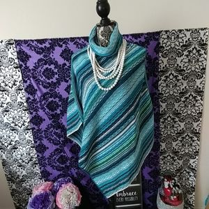 Striped turquoise poncho one size